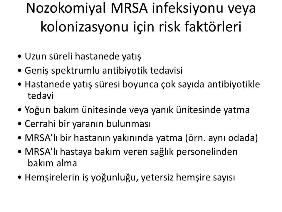 Nozokomiyal MRSA infeksiyonu veya kolonizasyonu için risk faktörleri