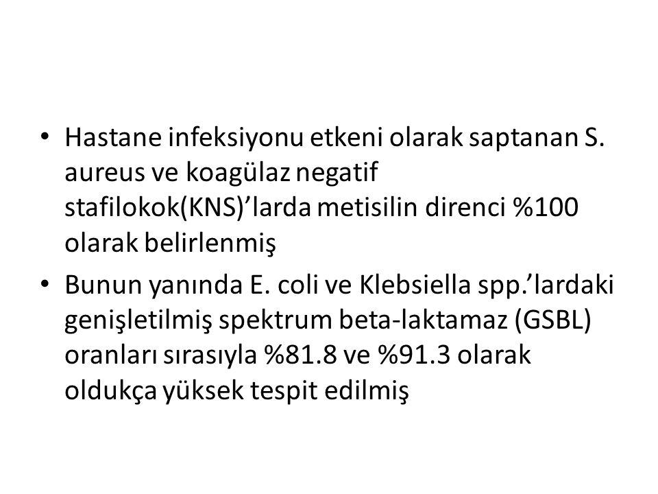 Hastane infeksiyonu etkeni olarak saptanan S