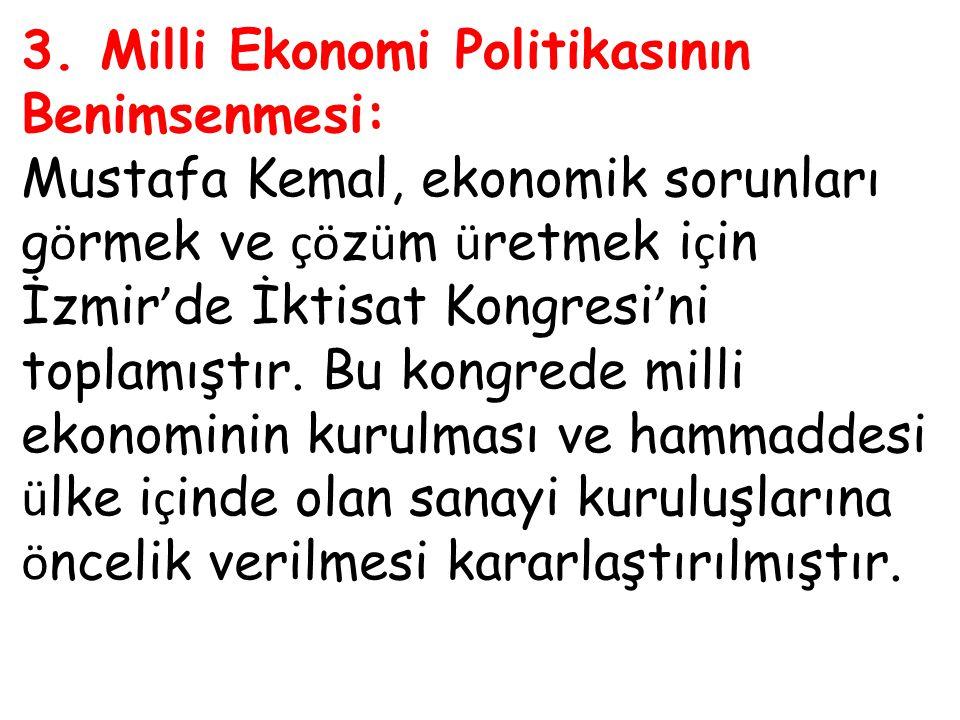 3. Milli Ekonomi Politikasının Benimsenmesi: