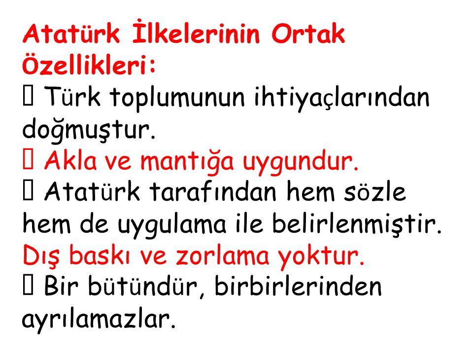 Atatürk İlkelerinin Ortak Özellikleri: