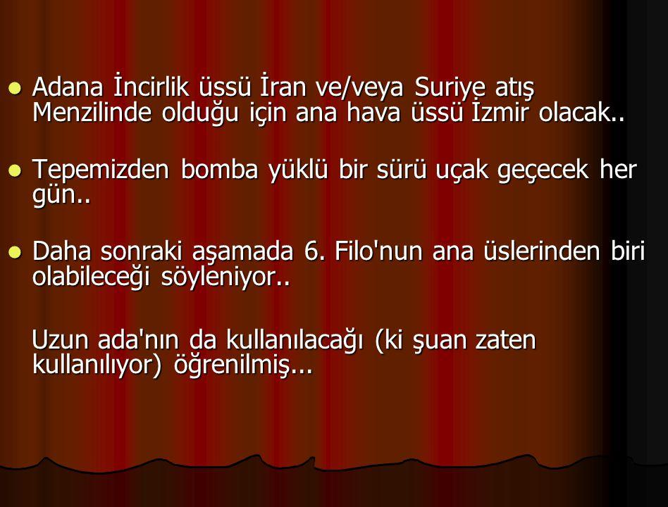 Adana İncirlik üssü İran ve/veya Suriye atış Menzilinde olduğu için ana hava üssü İzmir olacak..