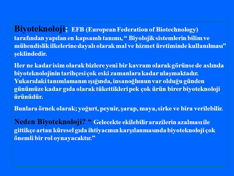 Biyoteknoloji; EFB (European Federation of Biotechnology) tarafından yapılan en kapsamlı tanımı, Biyolojik sistemlerin bilim ve mühendislik ilkelerine dayalı olarak mal ve hizmet üretiminde kullanılması şeklindedir.