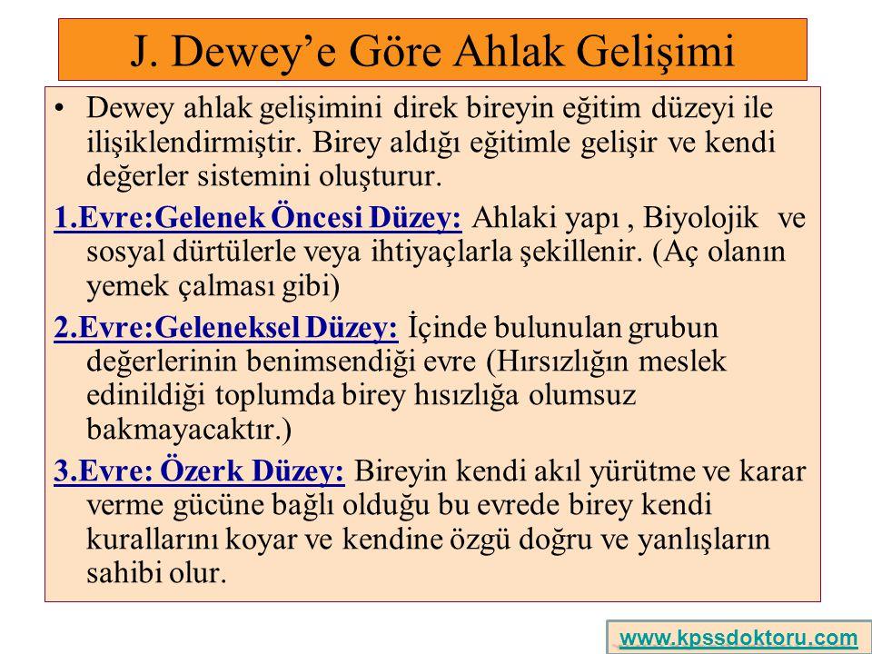 J. Dewey'e Göre Ahlak Gelişimi