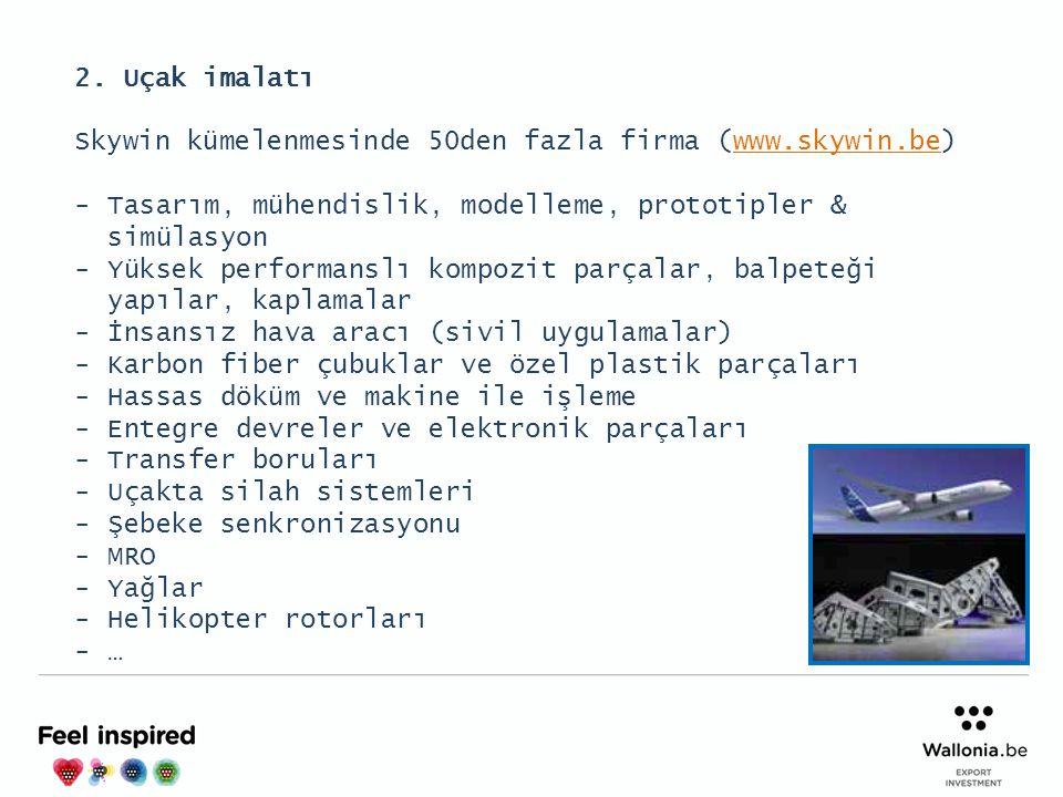 2. Uçak imalatı Skywin kümelenmesinde 50den fazla firma (www.skywin.be) Tasarım, mühendislik, modelleme, prototipler & simülasyon.