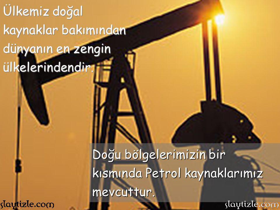 Ülkemiz doğal kaynaklar bakımından dünyanın en zengin ülkelerindendir.