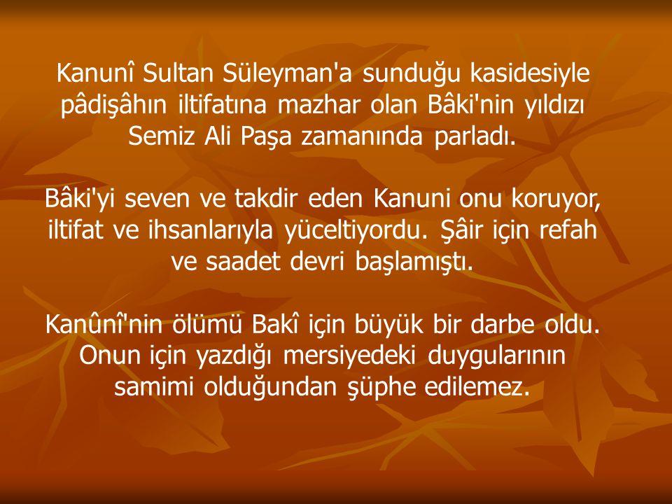 Kanunî Sultan Süleyman a sunduğu kasidesiyle pâdişâhın iltifatına mazhar olan Bâki nin yıldızı Semiz Ali Paşa zamanında parladı.