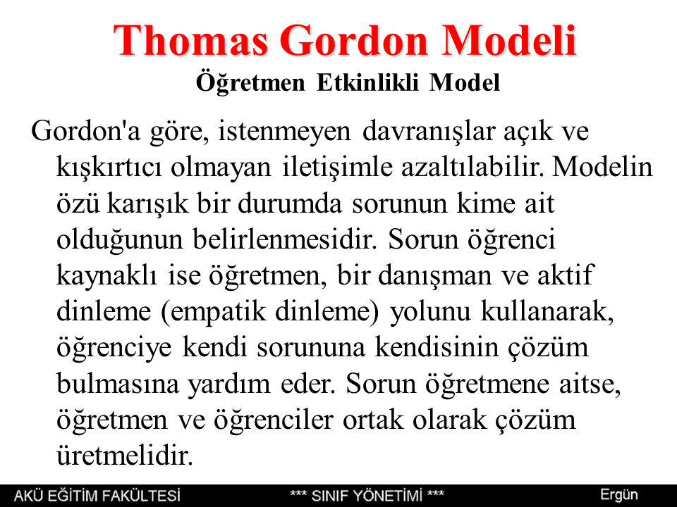 Thomas Gordon Modeli Öğretmen Etkinlikli Model