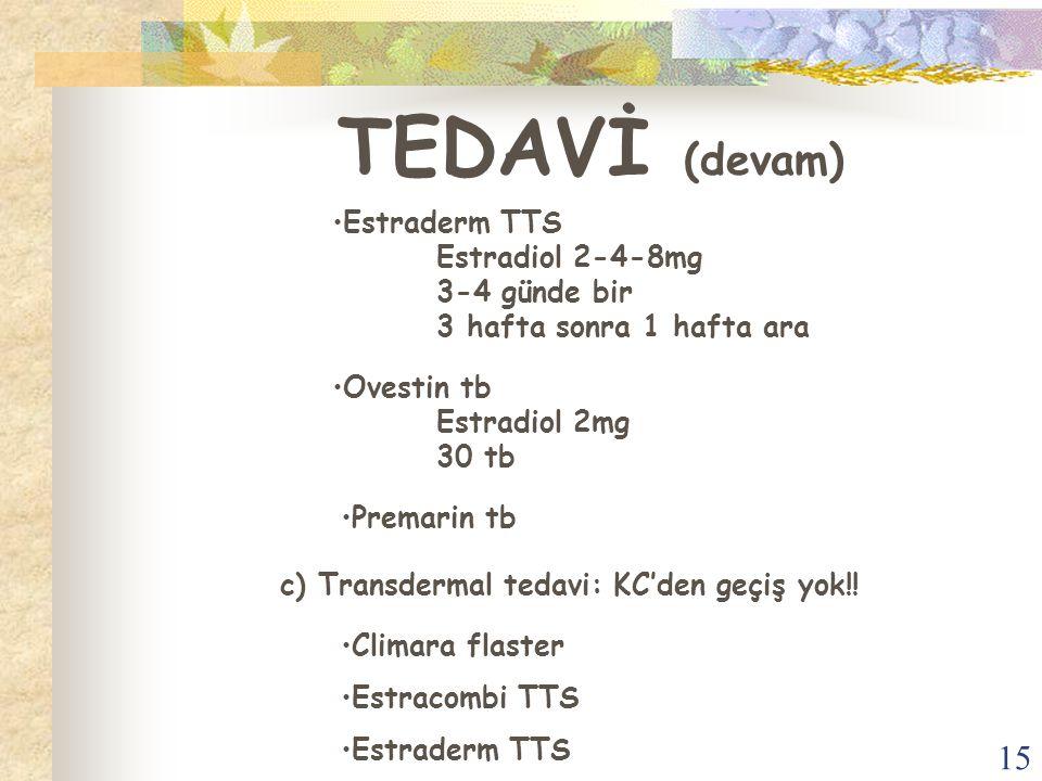 TEDAVİ (devam) Estraderm TTS Estradiol 2-4-8mg 3-4 günde bir 3 hafta sonra 1 hafta ara. Ovestin tb Estradiol 2mg 30 tb.