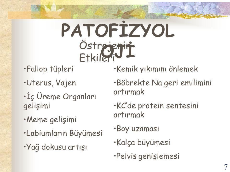 PATOFİZYOLOJİ Östrojenin Etkileri Fallop tüpleri Uterus, Vajen