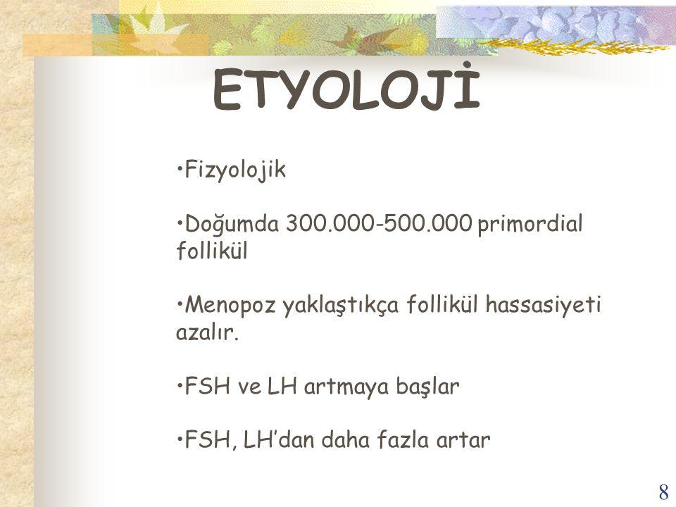 ETYOLOJİ Fizyolojik Doğumda 300.000-500.000 primordial follikül