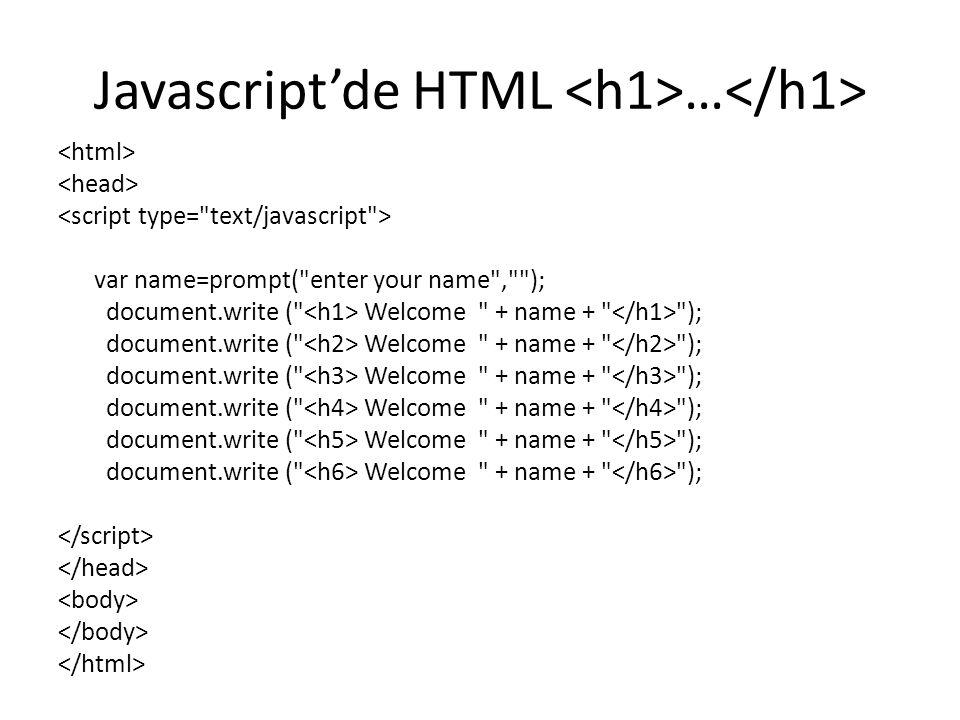 Javascript'de HTML <h1>…</h1>