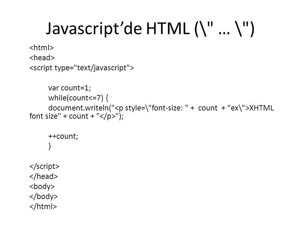 Javascript'de HTML (\ … \ )