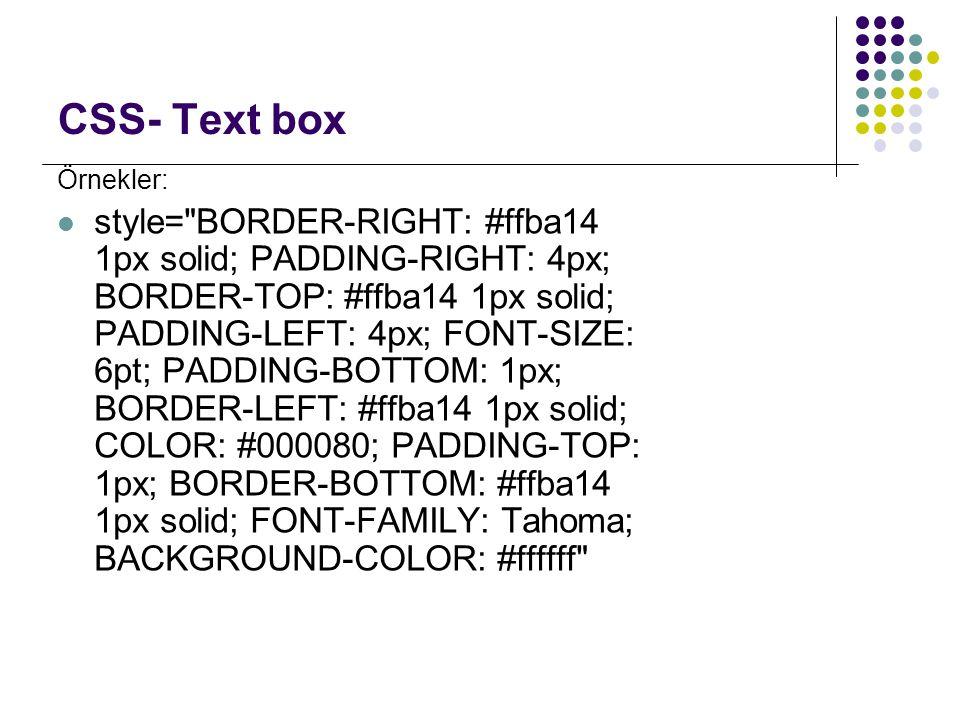 CSS- Text box Örnekler: