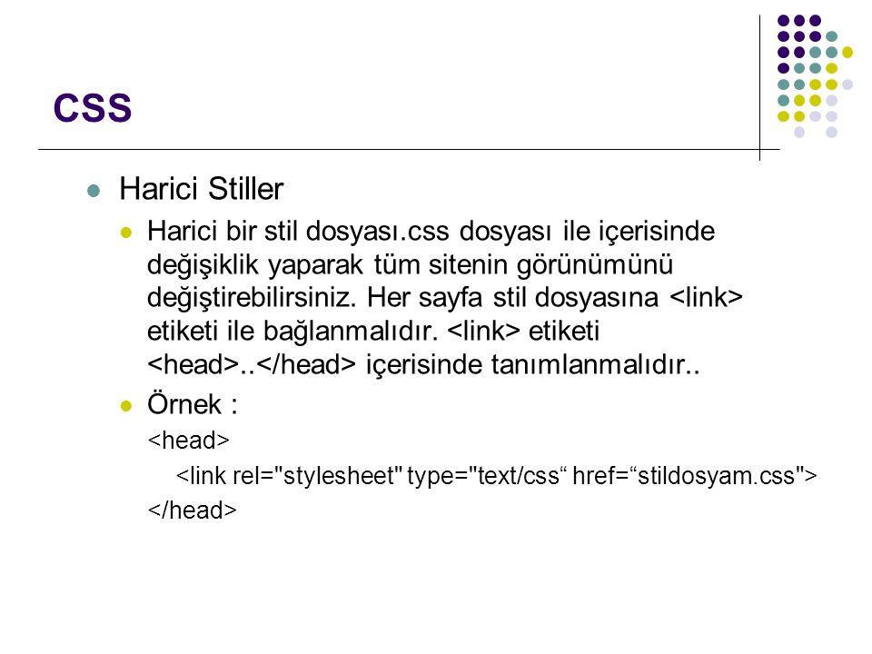 CSS Harici Stiller.