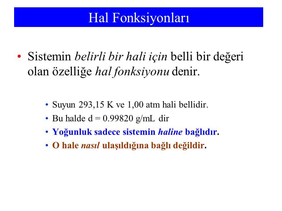 Chemistry 140 Fall 2002 Hal Fonksiyonları. Sistemin belirli bir hali için belli bir değeri olan özelliğe hal fonksiyonu denir.
