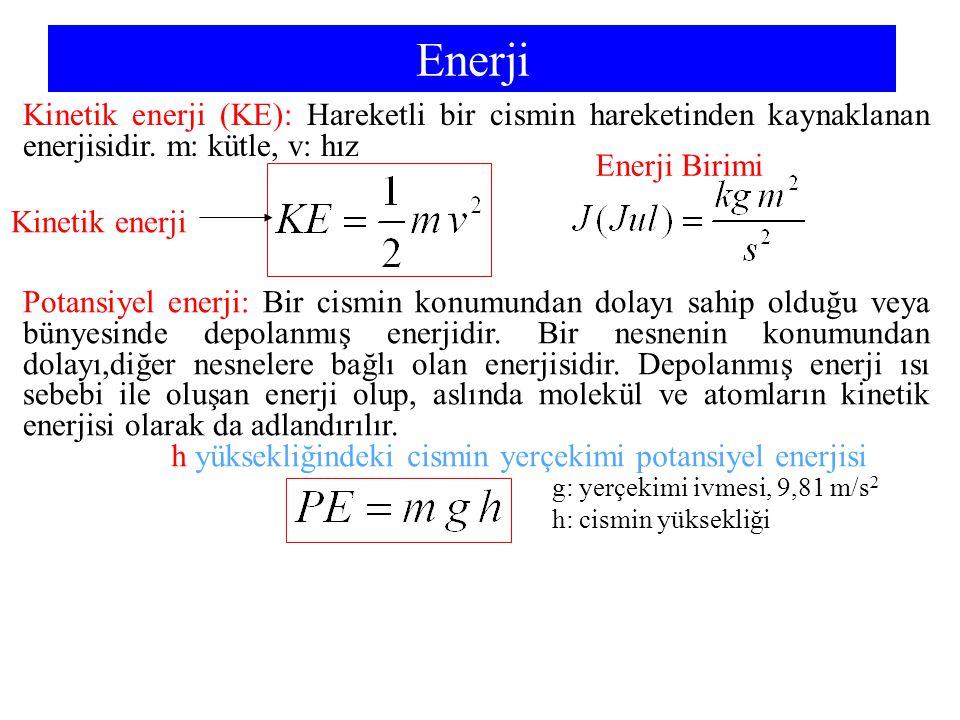 Enerji Kinetik enerji (KE): Hareketli bir cismin hareketinden kaynaklanan enerjisidir. m: kütle, v: hız.