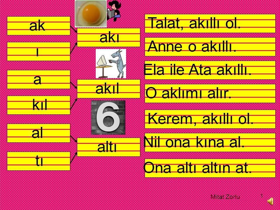 Talat, akıllı ol. ak akı Anne o akıllı. ı Ela ile Ata akıllı. a akıl