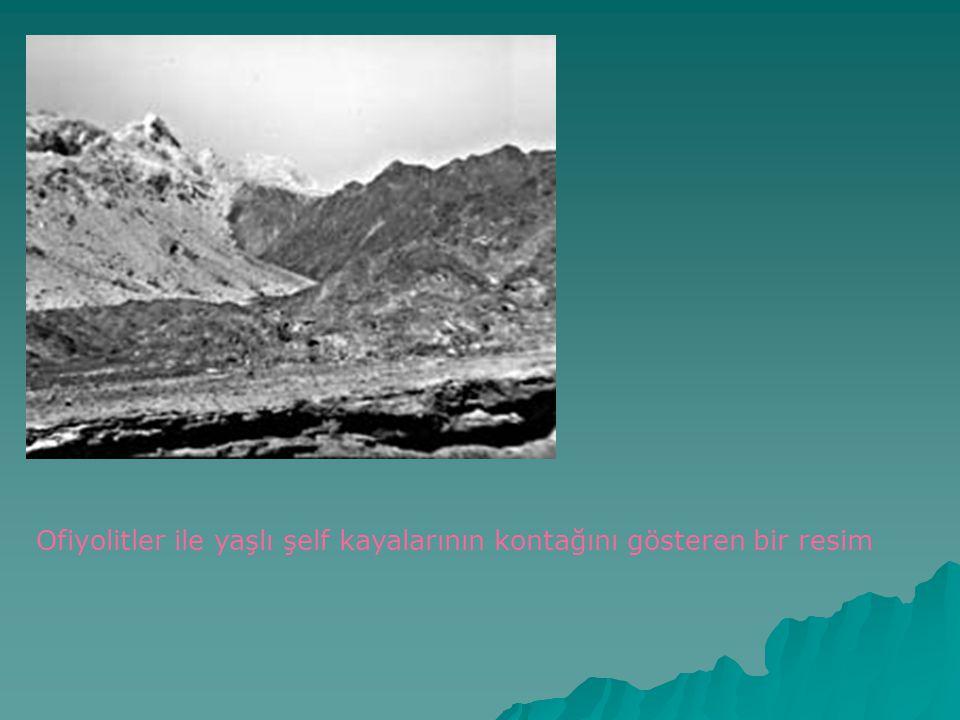 Ofiyolitler ile yaşlı şelf kayalarının kontağını gösteren bir resim