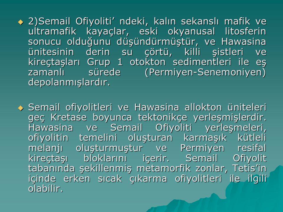 2)Semail Ofiyoliti' ndeki, kalın sekanslı mafik ve ultramafik kayaçlar, eski okyanusal litosferin sonucu olduğunu düşündürmüştür, ve Hawasina ünitesinin derin su çörtü, killi şistleri ve kireçtaşları Grup 1 otokton sedimentleri ile eş zamanlı sürede (Permiyen-Senemoniyen) depolanmışlardır.