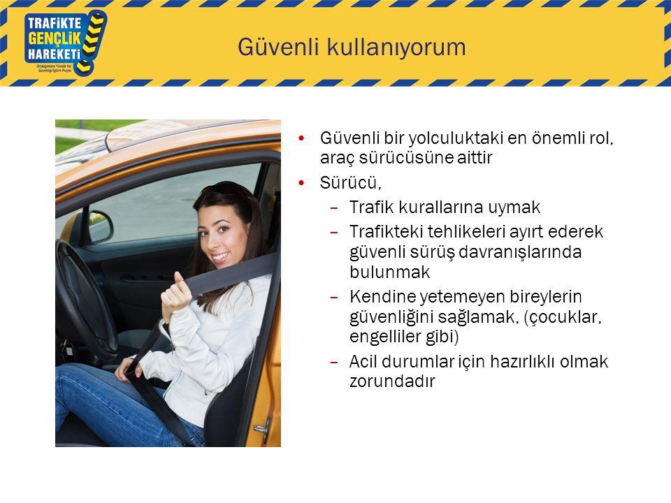 Güvenli kullanıyorum Güvenli bir yolculuktaki en önemli rol, araç sürücüsüne aittir. Sürücü, Trafik kurallarına uymak.