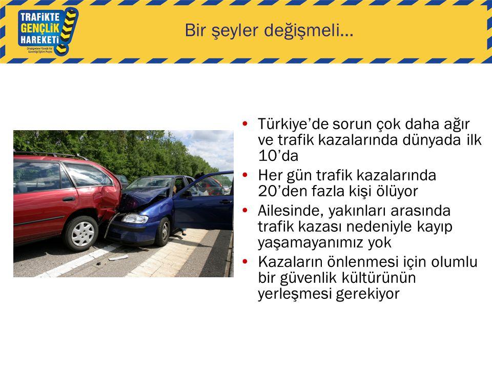 Bir şeyler değişmeli… Türkiye'de sorun çok daha ağır ve trafik kazalarında dünyada ilk 10'da. Her gün trafik kazalarında 20'den fazla kişi ölüyor.
