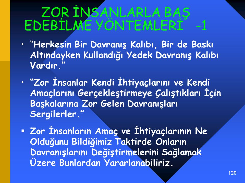 ZOR İNSANLARLA BAŞ EDEBİLME YÖNTEMLERİ -1