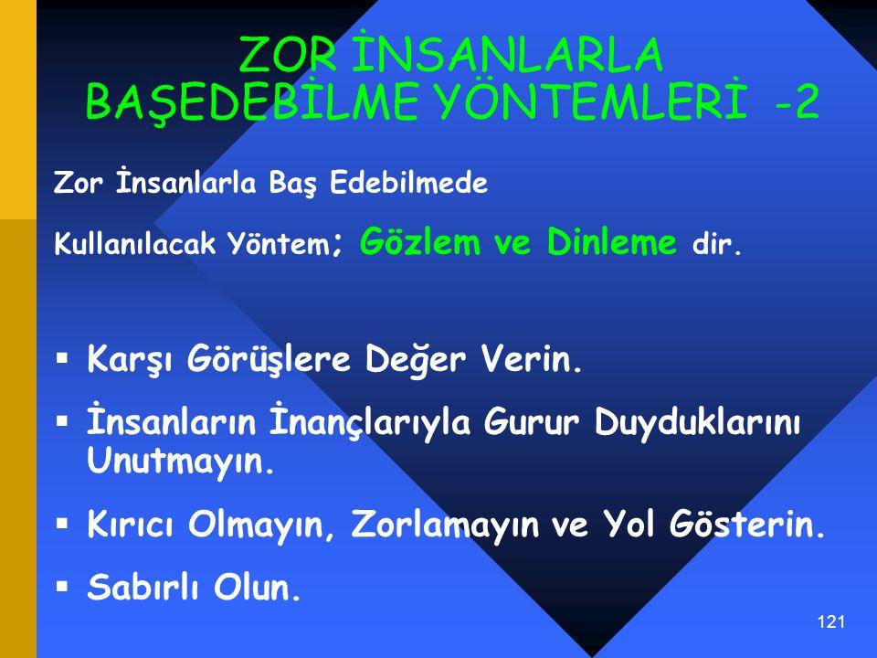ZOR İNSANLARLA BAŞEDEBİLME YÖNTEMLERİ -2