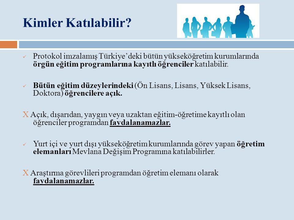 Kimler Katılabilir Protokol imzalamış Türkiye'deki bütün yükseköğretim kurumlarında örgün eğitim programlarına kayıtlı öğrenciler katılabilir.