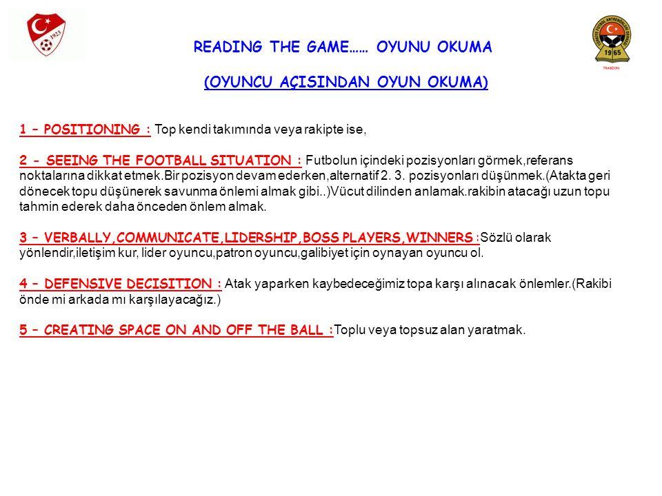 READING THE GAME…… OYUNU OKUMA (OYUNCU AÇISINDAN OYUN OKUMA)