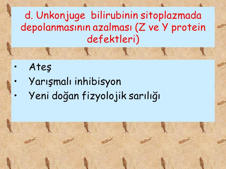 d. Unkonjuge bilirubinin sitoplazmada depolanmasının azalması (Z ve Y protein defektleri)
