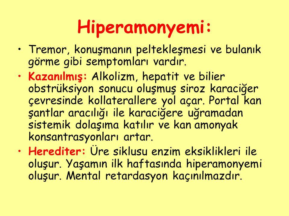 Hiperamonyemi: Tremor, konuşmanın peltekleşmesi ve bulanık görme gibi semptomları vardır.
