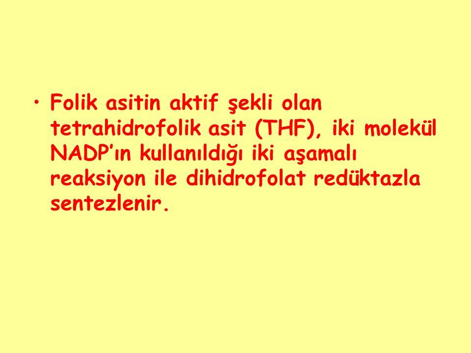 Folik asitin aktif şekli olan tetrahidrofolik asit (THF), iki molekül NADP'ın kullanıldığı iki aşamalı reaksiyon ile dihidrofolat redüktazla sentezlenir.