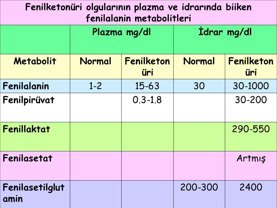 Fenilketonüri olgularının plazma ve idrarında biiken fenilalanin metabolitleri