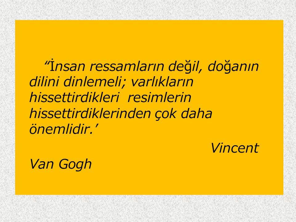 İnsan ressamların değil, doğanın dilini dinlemeli; varlıkların hissettirdikleri resimlerin hissettirdiklerinden çok daha önemlidir.' Vincent Van Gogh