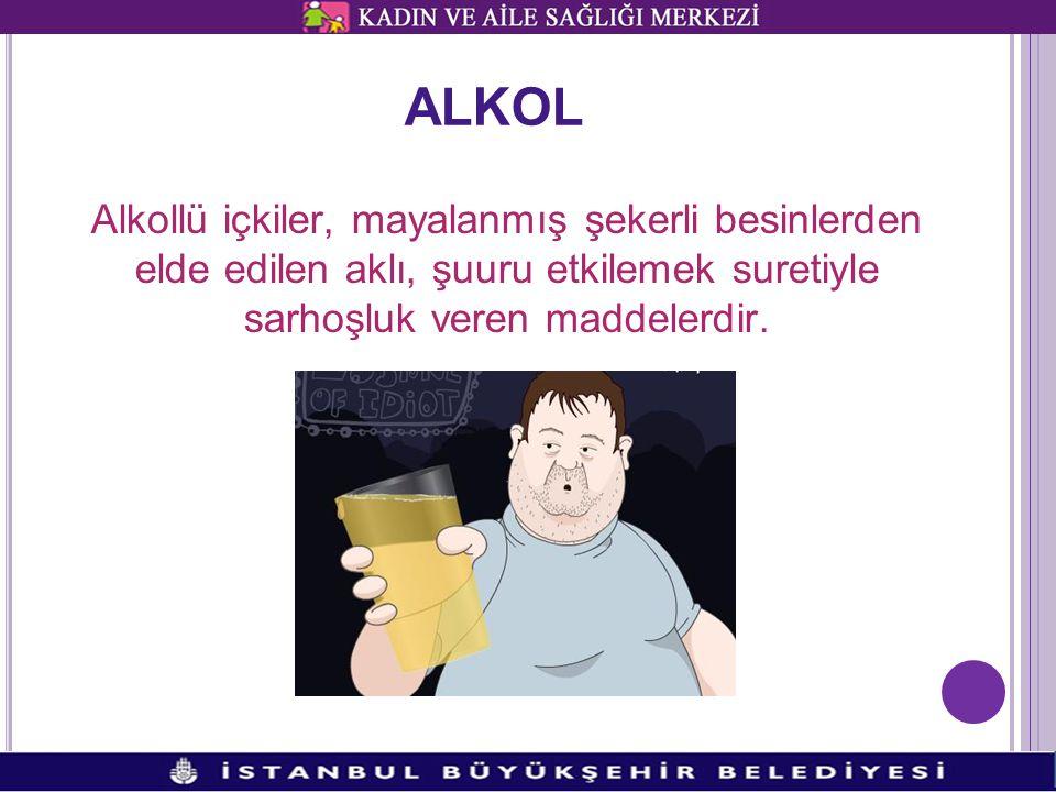 ALKOL Alkollü içkiler, mayalanmış şekerli besinlerden elde edilen aklı, şuuru etkilemek suretiyle sarhoşluk veren maddelerdir.