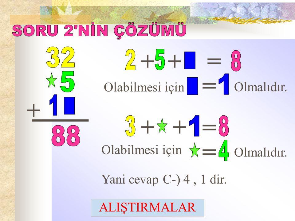 + + = = + + + = = SORU 2 NİN ÇÖZÜMÜ 32 2 5 8 1 5 1 3 1 8 88 4