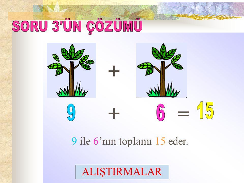 + + = SORU 3 ÜN ÇÖZÜMÜ 15 9 6 9 ile 6'nın toplamı 15 eder.