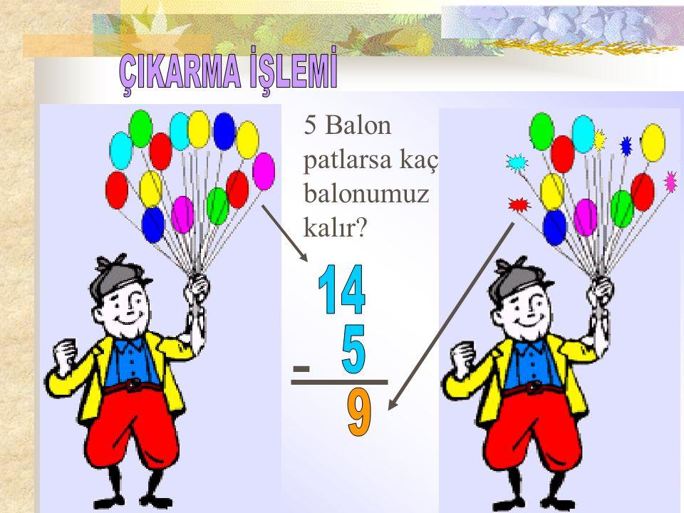 ÇIKARMA İŞLEMİ 5 Balon patlarsa kaç balonumuz kalır 14 - 5 9