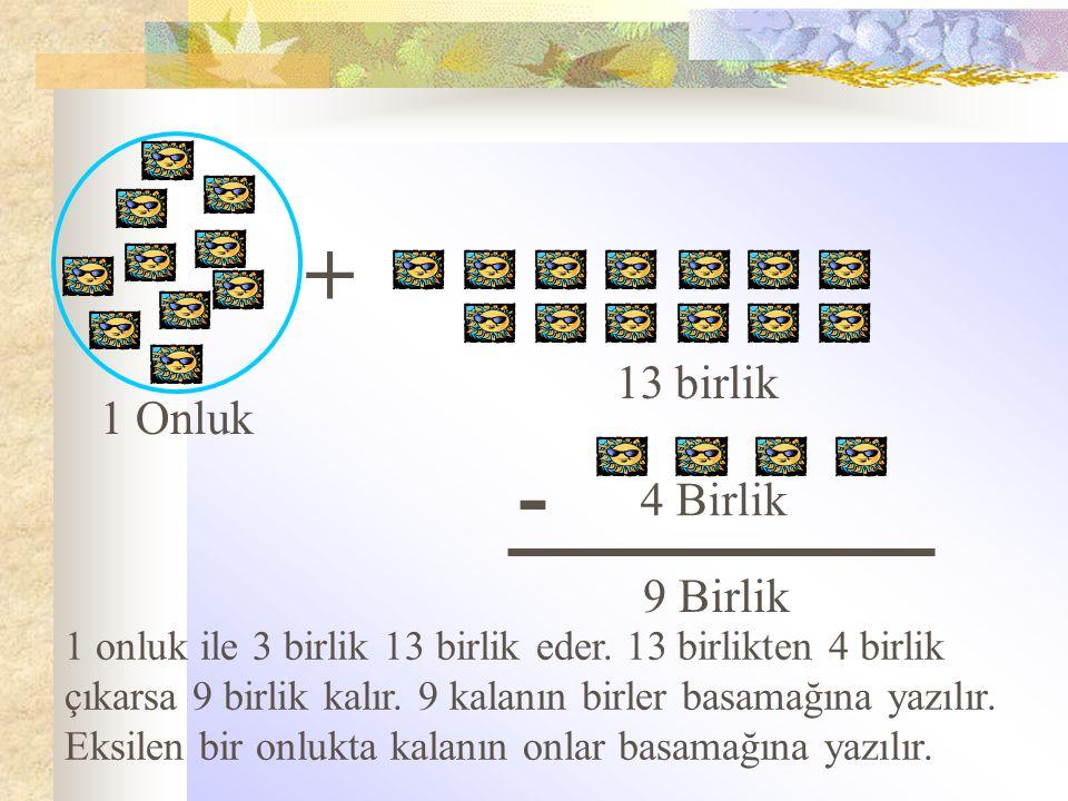 + - 13 birlik 1 Onluk 4 Birlik 9 Birlik
