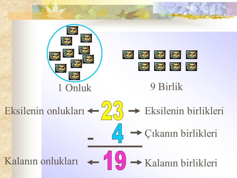 - 23 4 19 1 Onluk 9 Birlik Eksilenin onlukları Eksilenin birlikleri
