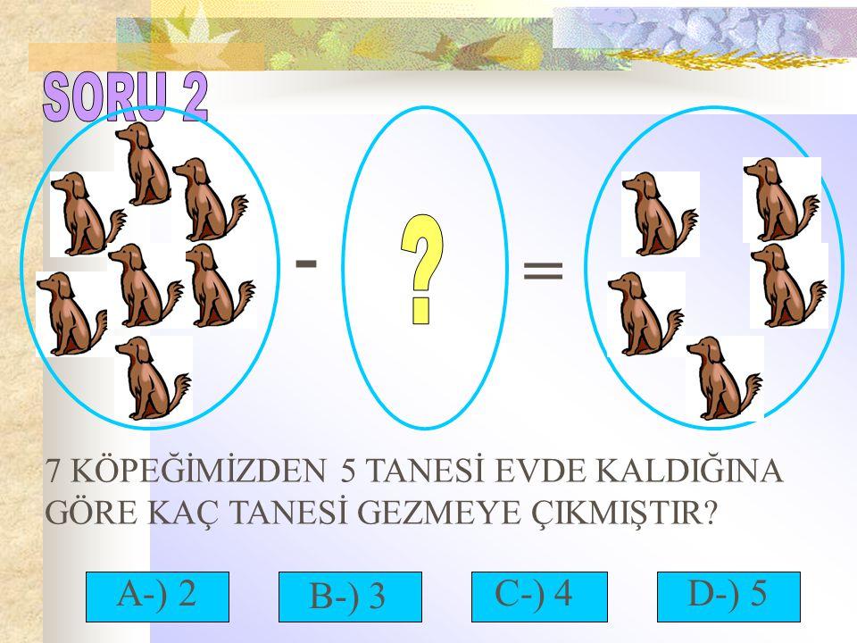 SORU 2 - = 7 KÖPEĞİMİZDEN 5 TANESİ EVDE KALDIĞINA GÖRE KAÇ TANESİ GEZMEYE ÇIKMIŞTIR A-) 2. B-) 3.