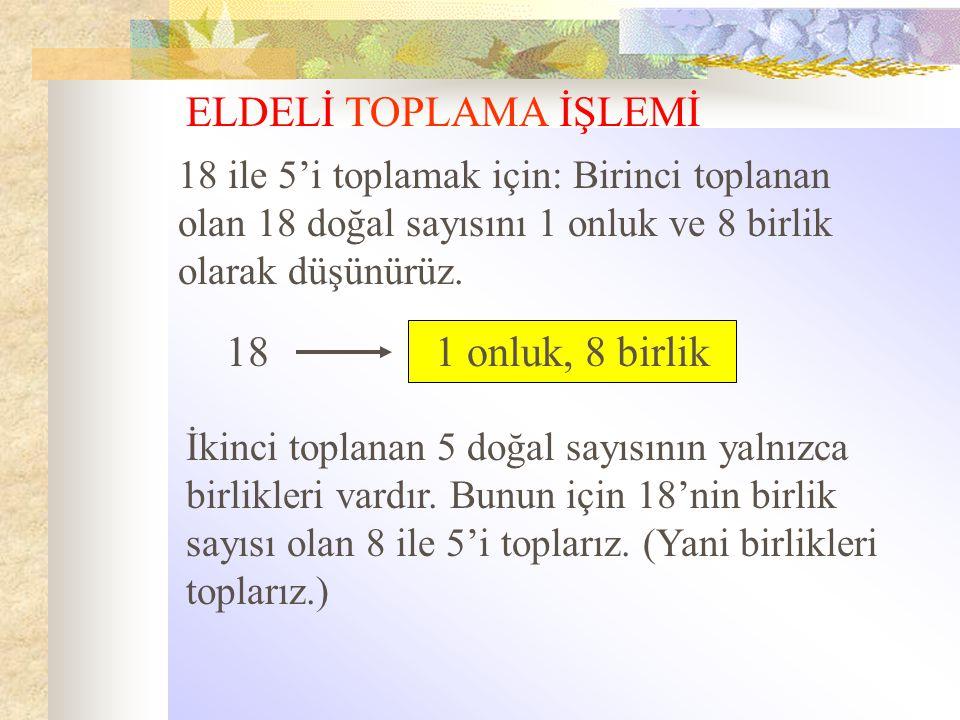 ELDELİ TOPLAMA İŞLEMİ 18 1 onluk, 8 birlik