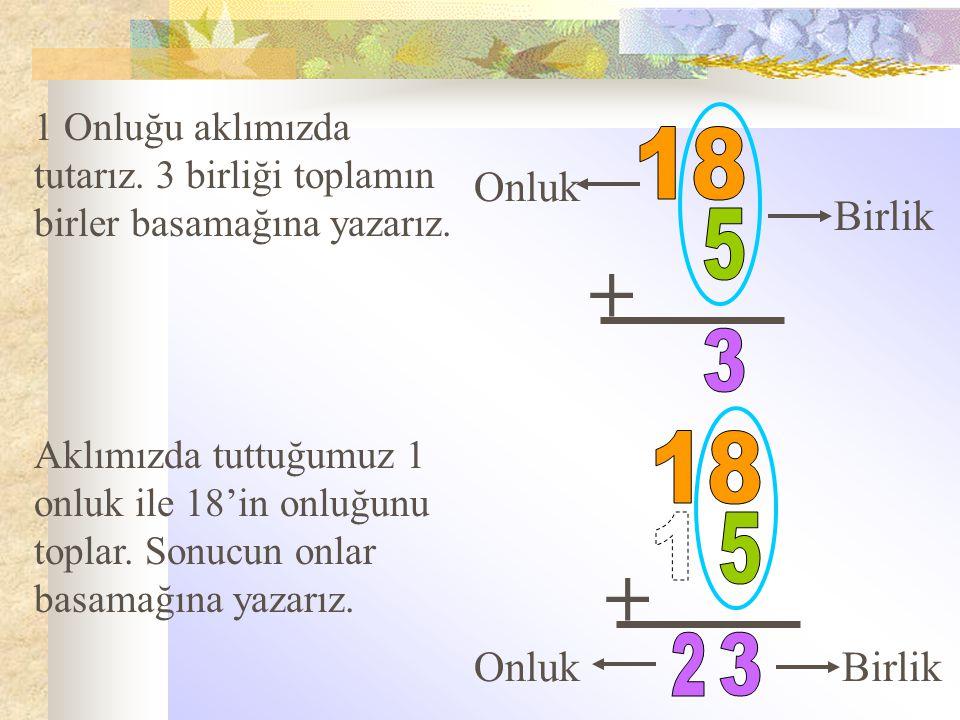 + + 18 5 3 18 1 5 2 3 Onluk Birlik Onluk Birlik