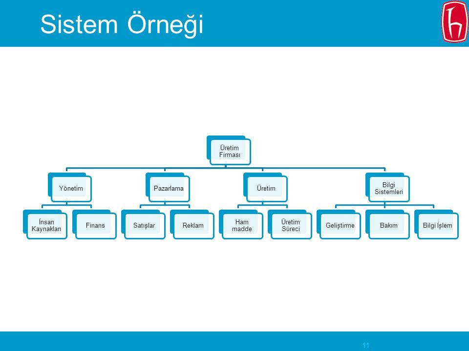 Sistem Örneği Üretim Firması Yönetim İnsan Kaynakları Finans Pazarlama
