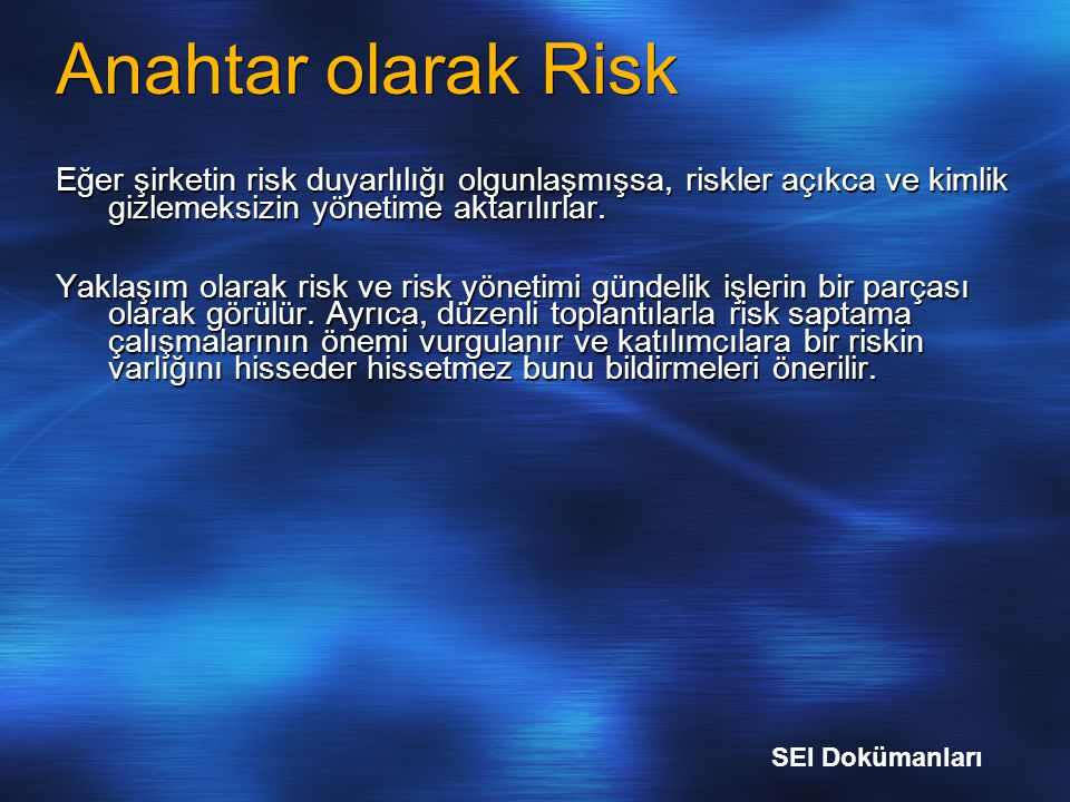 Anahtar olarak Risk