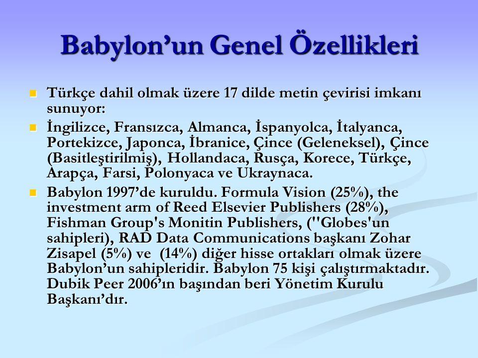 Babylon'un Genel Özellikleri