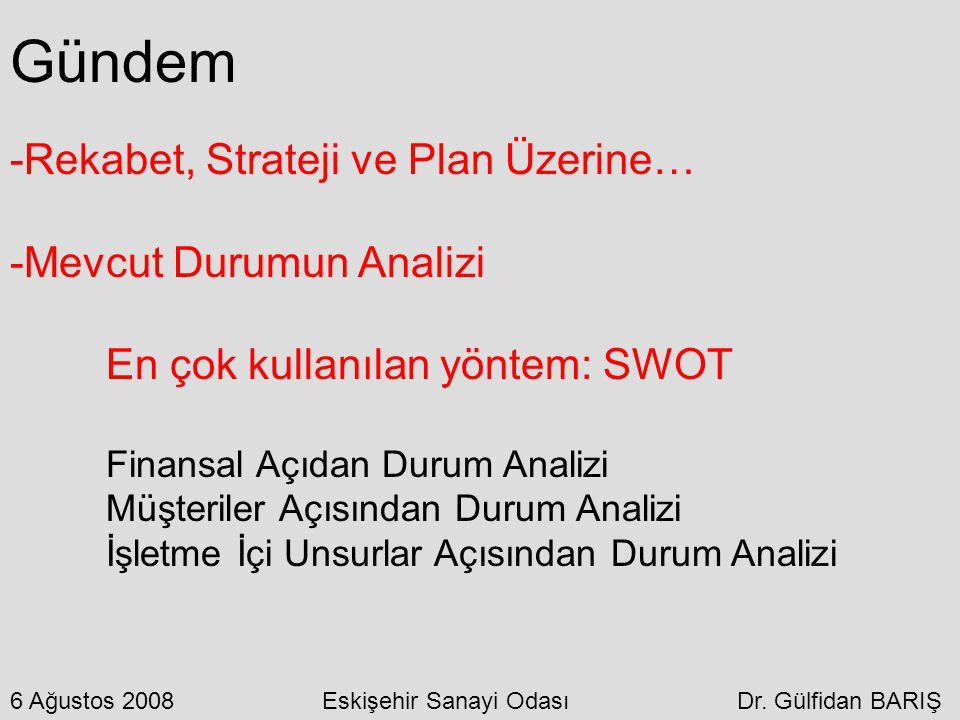 Gündem -Rekabet, Strateji ve Plan Üzerine… -Mevcut Durumun Analizi