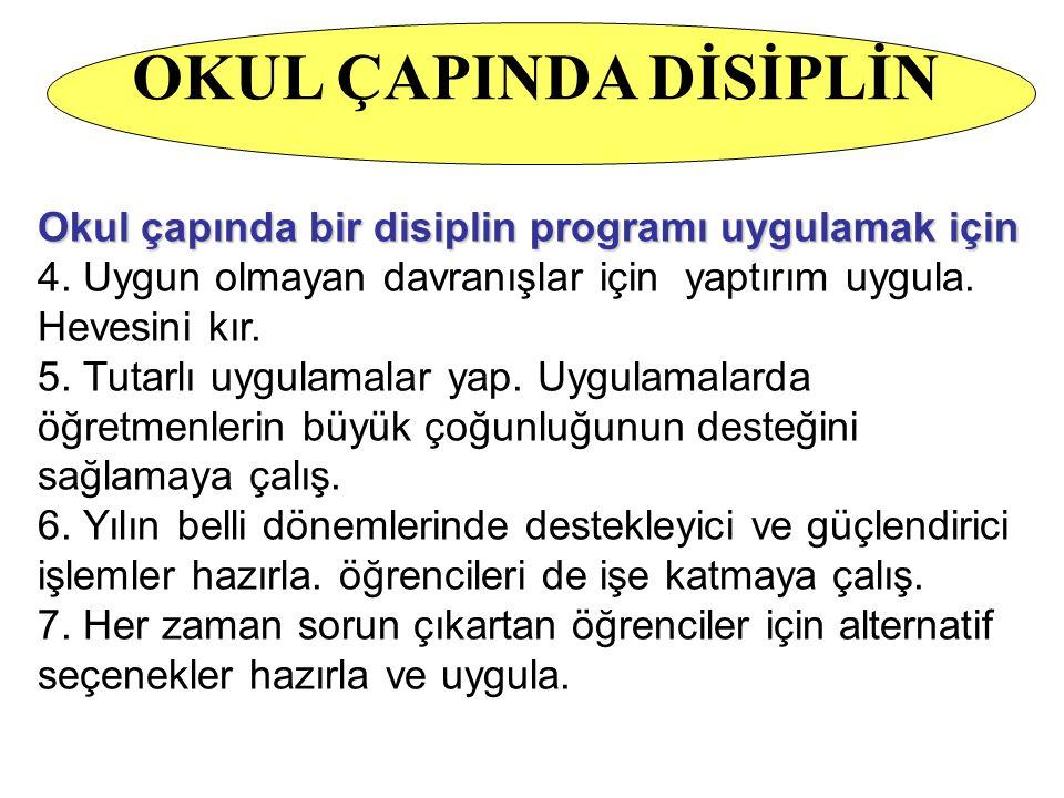 OKUL ÇAPINDA DİSİPLİN Okul çapında bir disiplin programı uygulamak için. 4. Uygun olmayan davranışlar için yaptırım uygula. Hevesini kır.
