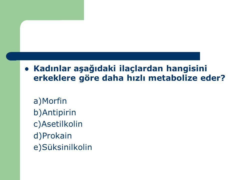 Kadınlar aşağıdaki ilaçlardan hangisini erkeklere göre daha hızlı metabolize eder