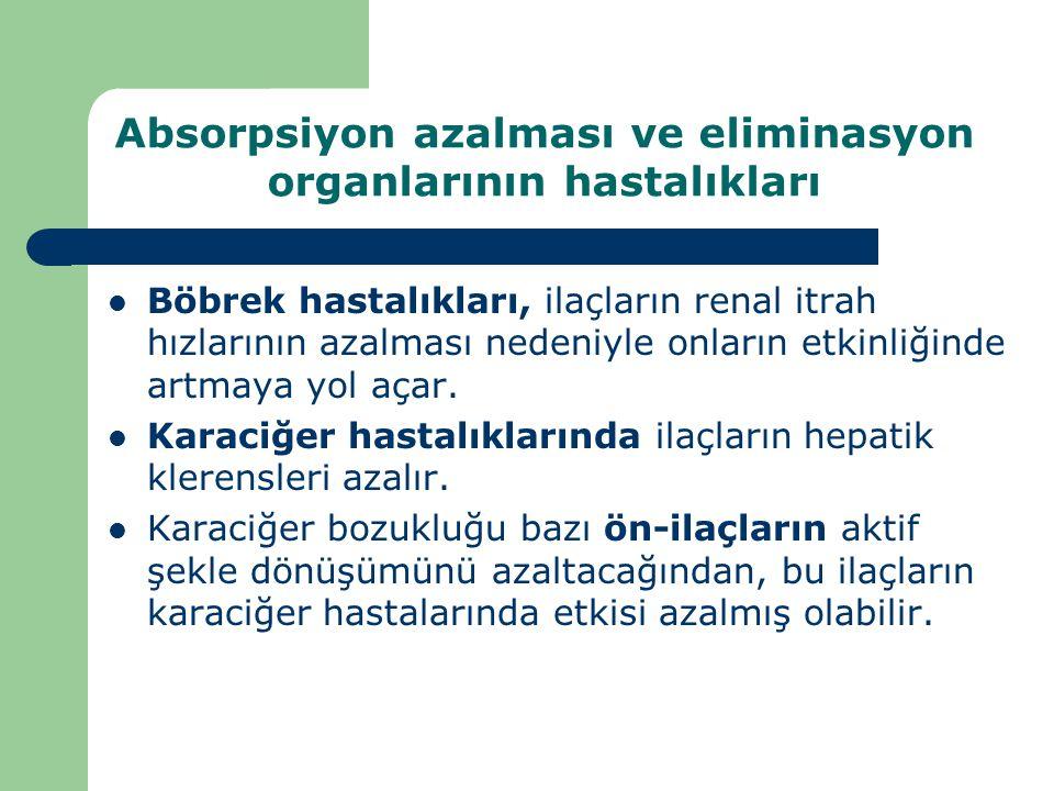 Absorpsiyon azalması ve eliminasyon organlarının hastalıkları